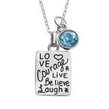 """Collar de plata de etiqueta sentimiento palabras y 20 cadena de """"declaración significativa en vivo Amor"""