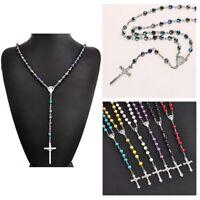 Charme Rosenkranz-Kette Jesus Jungfrau Maria Anhänger Kreuz Halskette