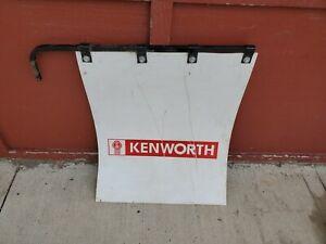 "hard plastic semi truck mud flap 30"" x 24"" kenworth with bracket been used"