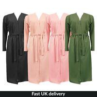UK New Womens Ladies Belted Kimono Jacket duster Coat Lounge Wear S/M-M/L