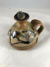 Artisan Pottery Oil Candle with Handle Signed