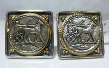 KONSTANTINO STERLING SILVER 18K GOLD ROMAN HORSE CARRIAGE CUFFLINKS RETAIL $1840