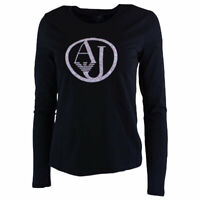 ARMANI JEANS 7V5T04 5J00Z Womens T Shirt Crew Neck Long Sleeve Pullover Black