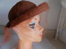 Women VINTAGE straw BURNT ORANGE BROWN HAT New York Creation sz22 BENT BRIM VEIL