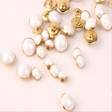 New 100PCS Creamy White Pearl Metal Shank Buttons Sewing Craft 10mm
