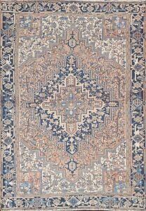 Vintage Muted Geometric Heriz Hand-knotted Area Rug Wool Oriental Carpet 7'x10'