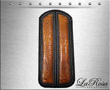 LaRosa Black Leather Gator Emboss Inlay Harley Softail Dyna Sportster Fender Bib