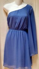 GIANNI BINI purple blue shade one shoulder formal light chiffon dress s nwt $118