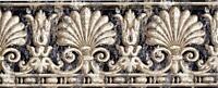 Victorian Black Gold White Damask Shell Leaves Architectural Wallpaper Border