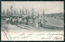 Livorno Città Porto Mediceo Barche PIEGHINA cartolina KF2287