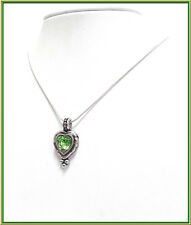 NEW PILGRIM SILVER PLATED NECKLACE GREEN CRYSTAL ON HANDMADE HEART PENDANT