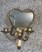 Vintage Heart Shape Wall Mounted Mirror And Taper Candle Holder