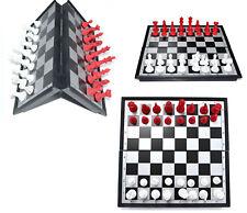 Ajedrez Magnético Plegable con instrucciones-elaborado piezas de color rojo y negro