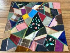 Antique Pa c 1900 Crazy Quilt Block Black with Embroidery Stag Deer