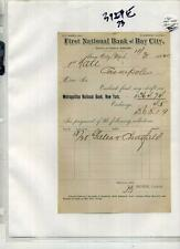 Bay City Michigan 1882 Document First National Bank