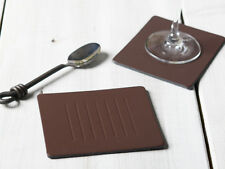Set of 8 BROWN EMBOSSED Leatherboard COASTERS