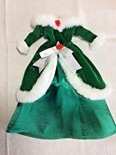 Lovely Green Velvet & Satin Winter Gown, White Faux Fur Trim, No Label