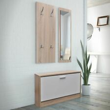 # 3-in-1 Shoe Cabinet Set Storage Organiser w/ Coat Rack & Mirror Wooden Versati