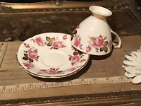 Royal Tara Pink Rose Gold Black Leaf Tea Cup & Saucer Ireland