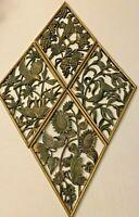Vtg Burwood 4pc Set 1971 MCM Gold Black Birds Floral 3D Wall Art Plaques Plastic