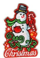 CHRISTMAS Snowman Iron On Patch Santa Claus Holiday