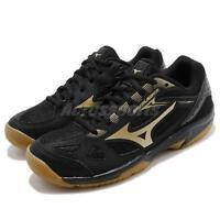 Mizuno Sky Blaster Black Gold Gum Men Volleyball Badminton Shoes 71GA1945-50