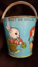 Vintage J. Chein & Co Made in USA Child's Tin Sand Beach Pail - Duck, Bunny, Pig