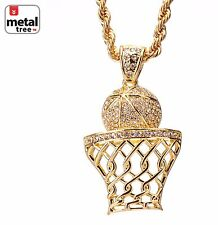 """Hip Hop Iced Out Basketball Rim Hoop Sign Pendant 30"""" Rope Chain Set HC 5046 G"""