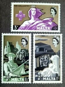 1959 Malta Queen Elizabeth II 17th Anniversary George Cross Complete Set -3v MLH