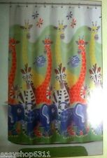 Zany Zoo Colorful Fabric Shower Curtain New !
