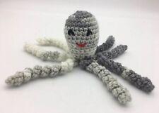 "Crochet Handmade Baby Octopus Toy Lovey Gift Newborn Preemie Gray Ombre 7"""