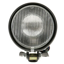 """Retro 5"""" Motorcycle Amber Front Headlight with White Glass for Harley Black"""