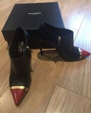 LN YSL SAINT LAURENT LADIES BLACK/RED/GOLD BOOTS SHOE BOOTIES 37.5 4.5 £620
