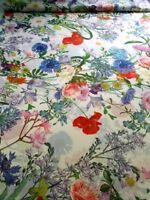 Stoff Chiffon Kleiderstoff Blumenmuster creme multicolor 50cm