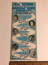 Vtg 1975 NASCAR Drivers go Country MCA Records Flyer Nashville Speedway schedule
