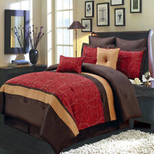 Atlantis Embroidered Nature Inspired Multi Piece Red Comforter Set - All Sizes