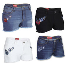 Damen Jeans Shorts Designer Stickerei Hotpant Destroyed Stretch Denim Kurze Hose