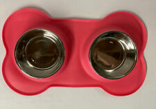 Vivaglory Pet Bowls Stainless Steel Water And Food Silicone Mat Pink - Dog OPEN