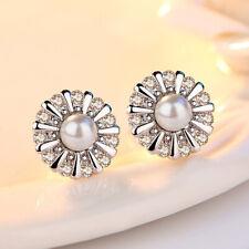 Stud Earrings Women Fashion Jewelry 925 Sterling Silver Zircon Pearl Sunflower