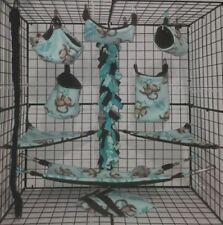 Hanging Monkeys *15 Pc Sugar Glider Cage set * Rat * double layer Fleece
