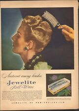 1940's Vintage ad for Jewelite roll-wave brushes retro Fashion Model   011919