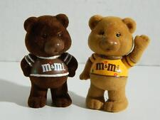 M&M's Flocked Bears Chocolate Chums Peanut Plain Figurines Collectible Vtg 1987