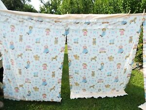 vintage curtains kids baby nursery 4 panels 2 valances eyelet 80s country