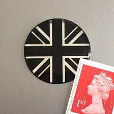 Union Jack Flag Sticker Domed Finish Black & Chrome 30mm Diameter