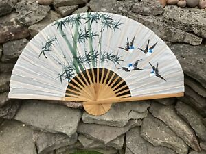 Decorative Chinese Wall Fan White Blue Birds Vintage
