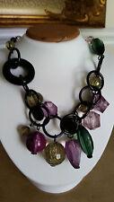 Designer Madame Mystique Large Black Link Green & Purple Charm Necklace - Italy