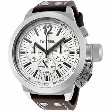 TW Steel CE1008 Men's Canteen Chronograph 50mm White Dial Leather Watch