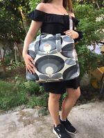 ORLA KIELY  FABRIC BLACKGRAY Weekendbag,TRAVELBAG,BABYBAG HANDMADE SEWING