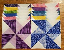 "Lot of 12 New Double Pinwheel 71/2"" Finished Quilt Blocks, Multi-colors, Tops"