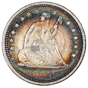 1877-S Liberty Seated Silver Quarter Pretty Colorful Toning 25C - AU -
